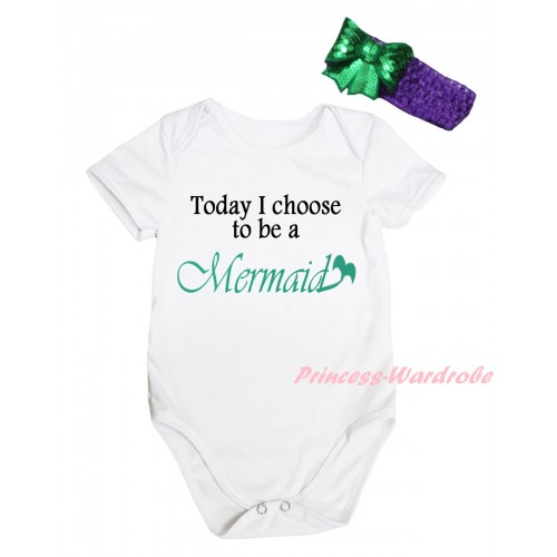 White Baby Jumpsuit & Today I Choose To Be A Mermaid Painting & Dark Purple Headband Kelly Green Bow TH816