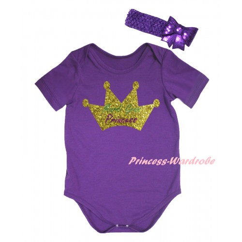 Mardi Gras Dark Purple Baby Jumpsuit & Sparkle Mardi Gras Princess Crown Painting & Dark Purple Headband Bow TH817