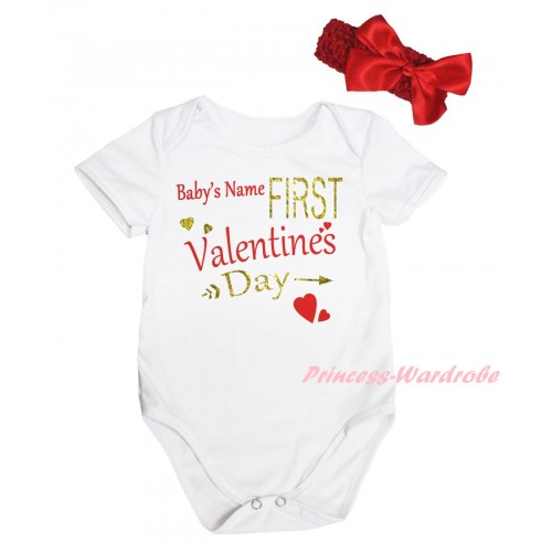 Valentine's Day White Baby Jumpsuit & Sparkle Gold Red Baby's Name First Valentine's Day Painting & Red Headband Bow TH826