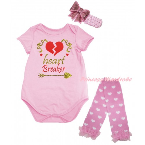 Valentine's Day Light Pink Baby Jumpsuit & Sparkle Gold Red Heart Breaker Painting & Light Pink Headband Bow & Light Pink Ruffles Light Pink White Heart Leg Warmer Set TH839