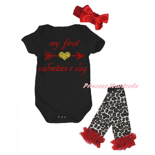 Valentine's Day Black Baby Jumpsuit & Sparkle My First Valentine's Day Painting & Red Headband Bow & Red Ruffles Black Leopard Leg Warmer Set TH840