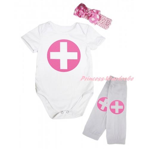 White Baby Jumpsuit & Light Pink Nurse Print & Light Pink Headband Light Pink White Dots Bow & White Light Pink Nurse Print Leg Warmer Set TH842