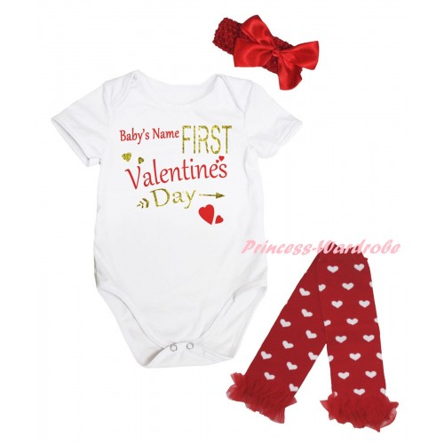 Valentine's Day White Baby Jumpsuit & Sparkle Gold Red Baby's Name First Valentine's Day Painting & Red Headband Bow & Red Ruffles Red White Heart Leg Warmer Set TH843