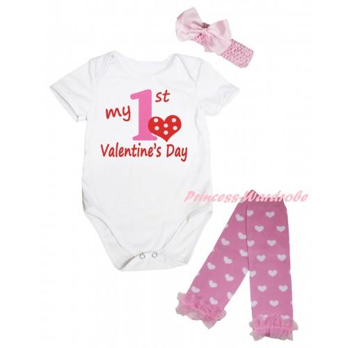 Valentine's Day White Baby Jumpsuit & Red Light Pink My 1st Valentine's Day Painting & Light Pink Headband Bow & Light Pink Ruffles Light Pink White Heart Leg Warmer Set TH844