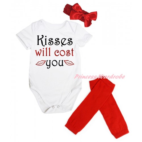 Valentine's Day White Baby Jumpsuit & Sparkle Red Black Kisses Will Cost You Painting & Red Headband Bow & Red Leg Warmer Set TH845