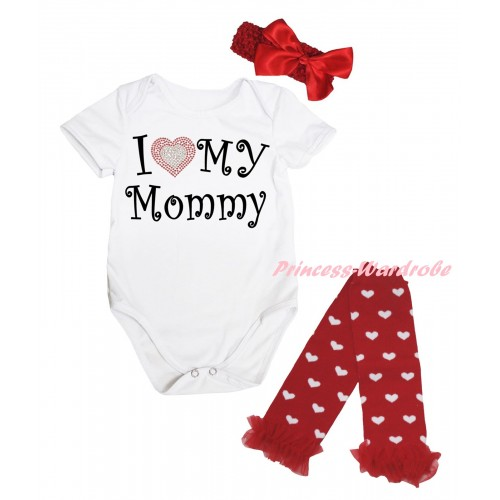 Mother's Day White Baby Jumpsuit & Sparkle I Love My Mommy Painting & Red Headband Bow & Red  Ruffles Red White Heart Leg Warmer Set TH847