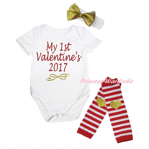 Valentine's Day White Baby Jumpsuit & Sparkle Red Gold My 1st Valentine's 2017 Painting & White Headband Gold Bow & Red White Striped Gold Heart Print Leg Warmer Set TH848