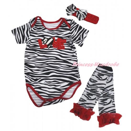 Red Zebra Baby Jumpsuit & Sparkle Red LOVE Zebra Heart Print & Red Headband Zebra Bow & Red Ruffles Zebra Leg Warmer Set TH849