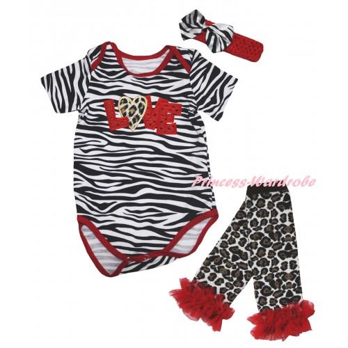 Red Zebra Baby Jumpsuit & Sparkle Red LOVE Leopard Heart Print & Red Headband Zebra Bow & Red Ruffles Black Leopard Leg Warmer Set TH850