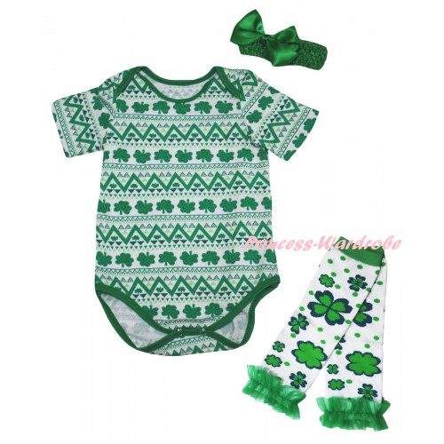 St Patrick's Day White Kelly Green Clover Baby Jumpsuit & Kelly Green Headband Bow & Kelly Green Ruffles White Kelly Green Clover Leg Warmer Set TH851
