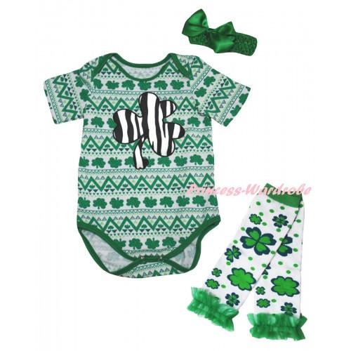 St Patrick's Day White Kelly Green Clover Baby Jumpsuit & Zebra Clover Print & Kelly Green Headband Bow & Kelly Green Ruffles White Kelly Green Clover Leg Warmer Set TH852