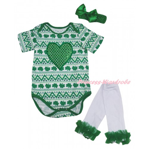 St Patrick's Day White Kelly Green Clover Baby Jumpsuit & Sparkle Kelly Green Heart Print & Kelly Green Headband Bow & Kelly Green Ruffles White Leg Warmer Set TH853