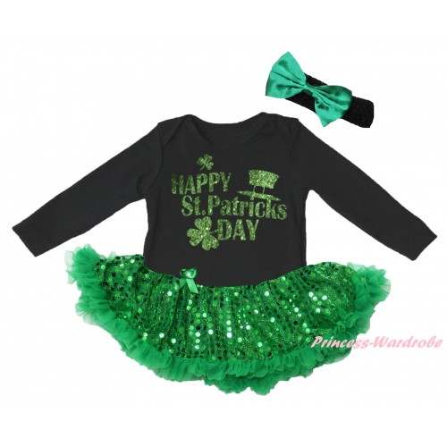 St Patrick's Day Black Long Sleeve Baby Bodysuit Jumpsuit Bling Kelly Green Sequins Pettiskirt & Sparkle Green Happy St Patrick's Day Painting & Black Headband Kelly Green Bow JS6396