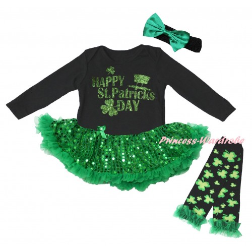 St Patrick's Day Black Long Sleeve Baby Bodysuit Jumpsuit Bling Kelly Green Sequins Pettiskirt & Sparkle Green Happy St Patrick's Day Painting & Black Headband Kelly Green Bow & Warmers Leggings JS6405