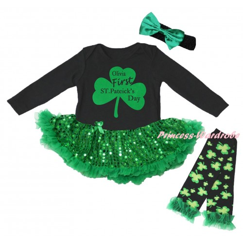 St Patrick's Day Black Long Sleeve Baby Bodysuit Jumpsuit Bling Kelly Green Sequins Pettiskirt & Kelly Green Clover Olivia First ST.Patrick's Day Painting & Black Headband Kelly Green Bow & Warmers Leggings JS6406