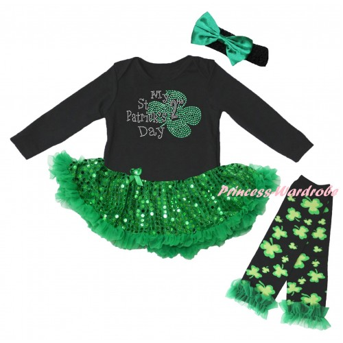 St Patrick's Day Black Long Sleeve Baby Bodysuit Jumpsuit Bling Kelly Green Sequins Pettiskirt & Sparkle Rhinestone My 2nd St Patrick's Day Print & Black Headband Kelly Green Bow & Warmers Leggings JS6408