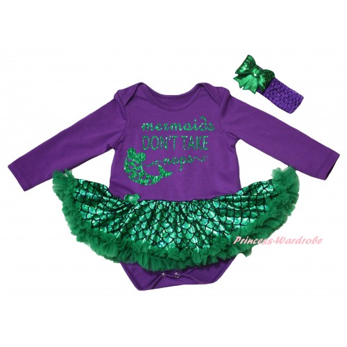 Dark Purple Long Sleeve Baby Bodysuit Jumpsuit Green Scale Pettiskirt & Sparkle Kelly Green Mermaids Don't Take Naps Painting & Dark Purple Headband Kelly Green Bow JS6411