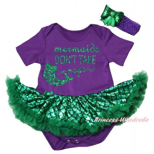 Dark Purple Baby Jumpsuit Green Scale Pettiskirt & Sparkle Kelly Green Mermaids Don't Take Naps Painting JS6447