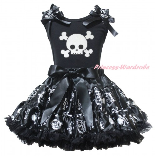 Halloween Black Pettitop Crown Skeleton Ruffles Black Bows & White Skeleton Print & Black Crown Skeleton Pettiskirt MG2742