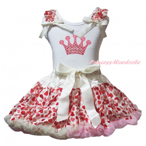 White Tank Top Cream White Heart Ruffles Cream White Bow & Sparkle Light Pink Crown Print & Cream White Heart Pettiskirt MG2754