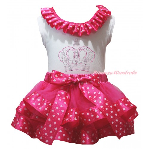 White Pettitop Hot Light Pink Heart Lacing & Sparkle Rhinestone Crown Print & Hot Light Pink Heart Trimmed Pettiskirt MG2825