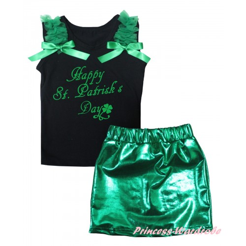 Black Tank Top Kelly Green Ruffles & Bows & St. Patrick's Day Painting & Bling Green Shiny Girls Skirt Set MG2861