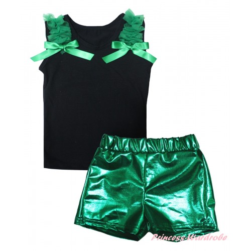 Black Tank Top Kelly Green Ruffles & Bows & Bling Kelly Green Shiny Girls Pantie Set MG2864