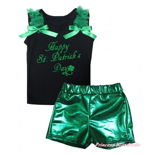 Black Tank Top Kelly Green Ruffles & Bows & St. Patrick's Day Painting & Bling Green Shiny Girls Pantie Set MG2867
