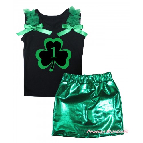 St Patrick's Day Black Tank Top Kelly Green Ruffles & Bows & Green 1st Number Clover Painting & Bling Green Shiny Girls Skirt Set MG2870