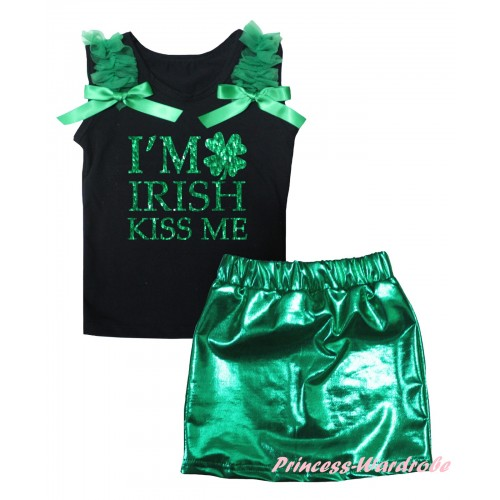 St Patrick's Day Black Tank Top Kelly Green Ruffles & Bows & Sparkle Kelly Green I'M IRISH KISS ME Painting & Bling Green Shiny Girls Skirt Set MG2873