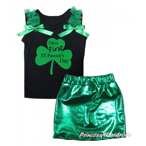St Patrick's Day Black Tank Top Kelly Green Ruffles & Bows & Kelly Green Clover Olivia First ST.Patrick's Day Painting & Bling Green Shiny Girls Skirt Set MG2874