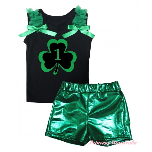 St Patrick's Day Black Tank Top Kelly Green Ruffles & Bows & Green 1st Number Clover Painting & Bling Green Shiny Girls Pantie Set MG2889