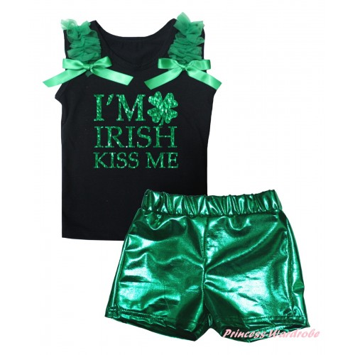 St Patrick's Day Black Tank Top Kelly Green Ruffles & Bows & Sparkle Kelly Green I'M IRISH KISS ME Painting & Bling Green Shiny Girls Pantie Set MG2892