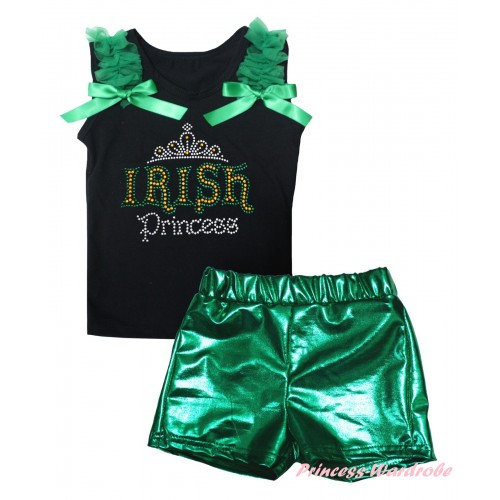 St Patrick's Day Black Tank Top Kelly Green Ruffles & Bows & Sparkle Rhinestone IRISH Princess Print & Bling Green Shiny Girls Pantie Set MG2896