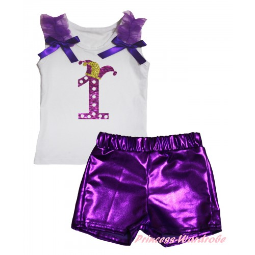 White Tank Top Dark Purple Ruffles & Bows & Sparkle Dark Purple White Dots 1st Number Clown Hat Painting & Bling Purple Shiny Girls Pantie Set MG2904