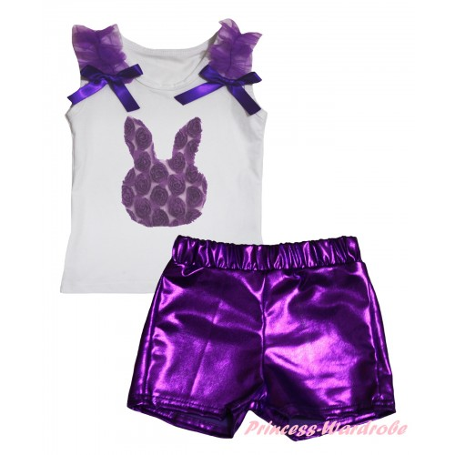 Easter White Tank Top Dark Purple Ruffles & Bows & Dark Purple Rosettes Rabbit Print & Bling Purple Shiny Girls Pantie Set MG2905