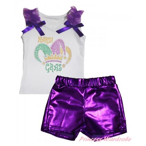 Mardi Gras White Tank Top Dark Purple Ruffles & Bows & Rhinestone Mardi Gras Clown Hat Print & Bling Purple Shiny Girls Pantie Set MG2906