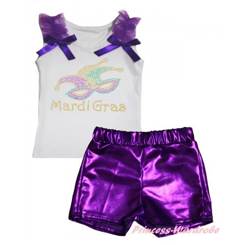 Mardi Gras White Tank Top Dark Purple Ruffles & Bows & Rhinestone Mardi Gras Clown Mask Print & Bling Purple Shiny Girls Pantie Set MG2907