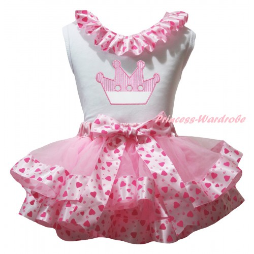 White Baby Pettitop Light Hot Pink Heart Lacing & Light Pink Crown Print & Light Hot Pink Heart Trimmed Newborn Pettiskirt NG2360