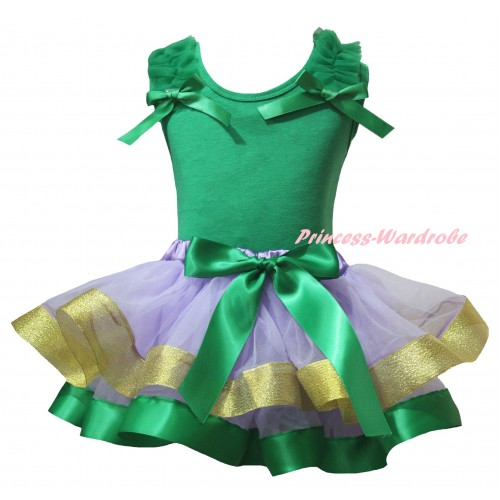 Kelly Green Baby Pettitop Kelly Green Ruffles Bows & Kelly Green Lavender Gold Trimmed Newborn Pettiskirt NG2412