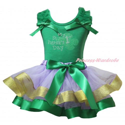 St Patrick's Day Kelly Green Baby Pettitop Kelly Green Ruffles Bows & Sparkle Rhinestone My 1st St Patrick's Day Print & Kelly Green Lavender Gold Trimmed Newborn Pettiskirt NG2416