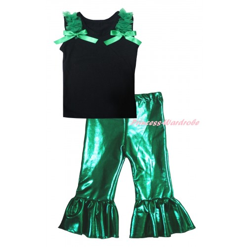 Black Tank Top Kelly Green Ruffles & Bows & Kelly Green Shiny Pants Set P064