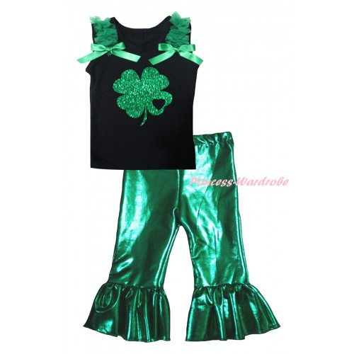 Black Tank Top Kelly Green Ruffles & Bows & Sparkle Little Heart Clover Painting & Kelly Green Shiny Pants Set P065