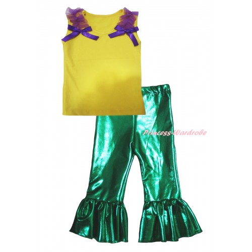 Yellow Tank Top Dark Purple Ruffles & Bows & Kelly Green Shiny Pants Set P066