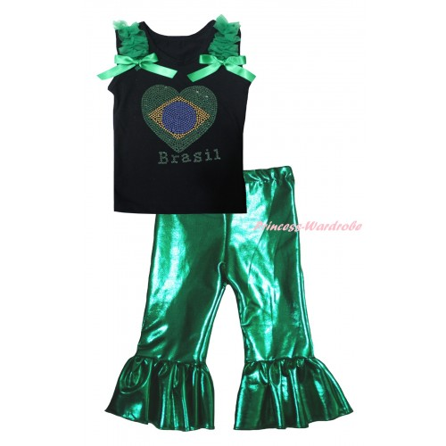 World Cup Black Tank Top Kelly Green Ruffles & Bows & Sparkle Crystal Bling Rhinestone Brazil Heart Print & Kelly Green Shiny Pants Set P074