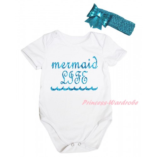 White Baby Jumpsuit & Sparkle Peacock Blue Mermaid Life Painting & Teal Green Headband Bow TH867