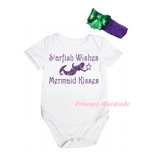 White Baby Jumpsuit & Sparkle Dark Purple Starfish Wishes Mermaid Kisses Painting & Dark Purple Headband Kelly Green Bow TH871