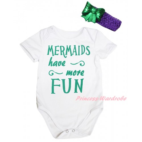 White Baby Jumpsuit & Kelly Green Mermaids Have More Fun Painting & Dark Purple Headband Kelly Green Bow TH873