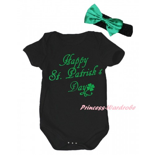 St Patrick's Day Black Baby Jumpsuit & Kelly Green Happy St.Patrick's Day Painting & Black Headband Kelly Green Bow TH874