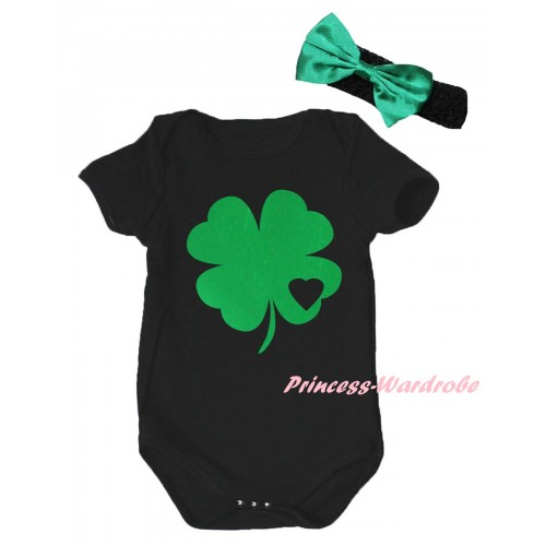 St Patrick's Day Black Baby Jumpsuit & Kelly Green Clover Black Heart Painting & Black Headband Kelly Green Bow TH875